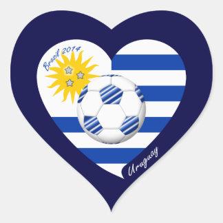 2014 URUGUAY SOCCER flag sun of May and ball Heart Sticker