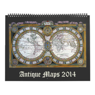 2014 Vintage Illustration Antique World Maps Calendar