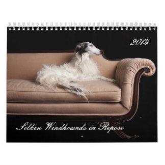 2014 Windhounds de seda en el descanso 1-4 Calendarios De Pared