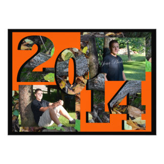2014 Woodland Camo Twin Photo Orange Invitations