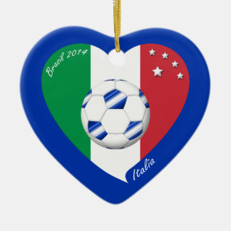 2014 world-wide SOCCER of ITALY flag and blue ball Ceramic Ornament