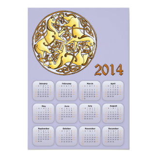 2014 Year of Horse calendar with celtic horses Card