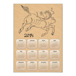 2014 Year of Horse calendar with horse drawing Card