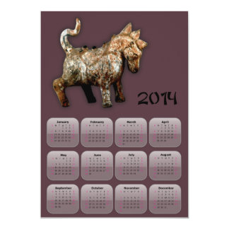 2014 Year of Horse calendar with terracotta horse Card