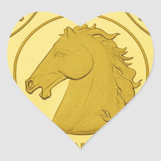 2014 YEAR OF THE HORSE GOLD COIN HEART STICKER