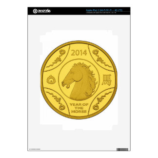 2014 YEAR OF THE HORSE GOLD COIN iPad 3 DECALS