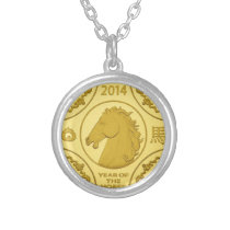 2014 YEAR OF THE HORSE GOLD COIN SILVER PLATED NECKLACE