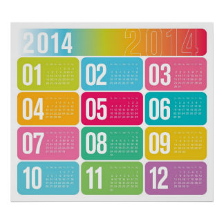 2014 Yearly Colorful Calendar Poster