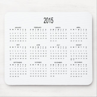 2015 12 Month at a Glance Calendar Mouse Pad