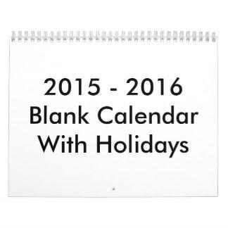 2015 - 2016 24 meses de calendario en blanco con