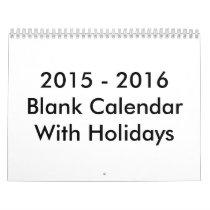 2015 - 2016 24 Months Blank Calendar With Holidays
