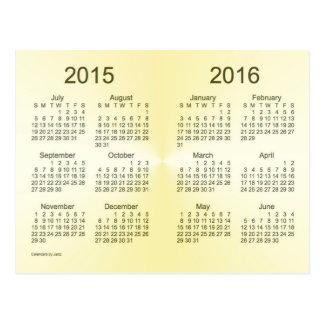 2015-2016 calendario del oro del año escolar mini postal