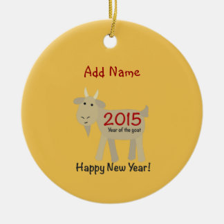 2015 años de la cabra - Feliz Año Nuevo Adorno Navideño Redondo De Cerámica
