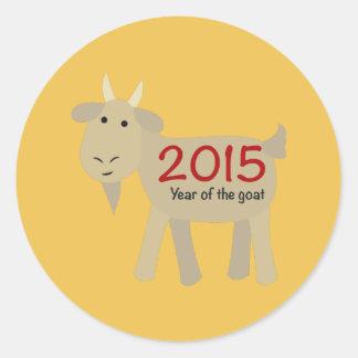 2015 años de la cabra pegatina redonda