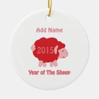 2015 años de las ovejas adorno navideño redondo de cerámica