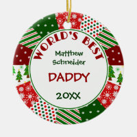 2015 BEST DADDY or Any Name Double-Sided Ceramic Round Christmas Ornament
