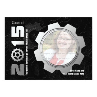 2015 Black and Silver Gear Graduation Invitation