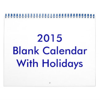 2015 Blank Calendar With Holidays And Blue Wire