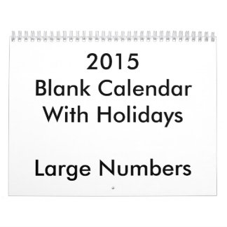 2015 Blank Calendar With Holidays Large Numbers