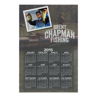 2015 Brent Chapman Bass Fishing Full Year Calendar Perfect Poster