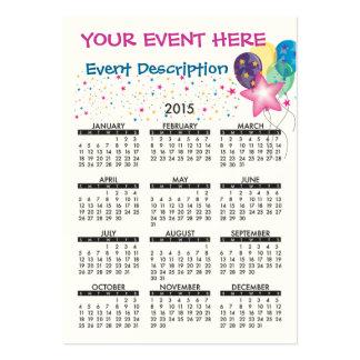 2015 Business Card Calendar Celebrate