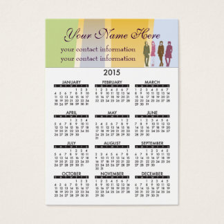 2015 Business Card Calendar Retro Girls
