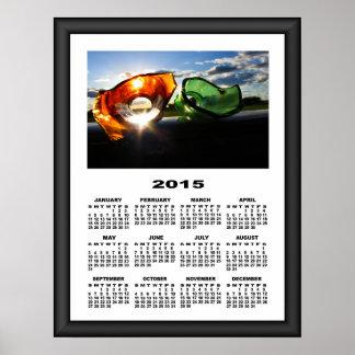 2015 Calendar Broken Bottles On The Road Poster