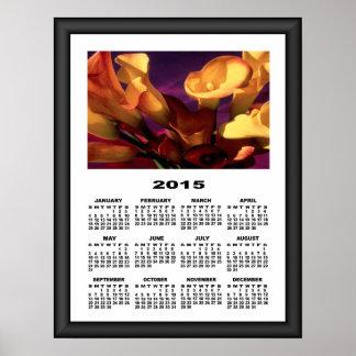 2015 Calendar Dark Purple Calla Lilies Poster
