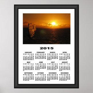 2015 Calendar Evening Windsurfing Graphic Frame Poster