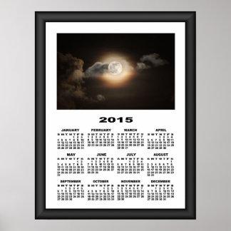 2015 Calendar Full Moon At Cloudy Night Poster