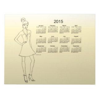 2015 Calendar Girl by Janz Yellow Notepad