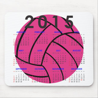 2015 Calendar Pink Volleyball Mouse Pad