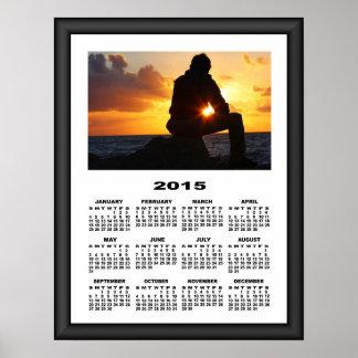 2015 Calendar Romantic Man At Sunset Graphic Frame Poster