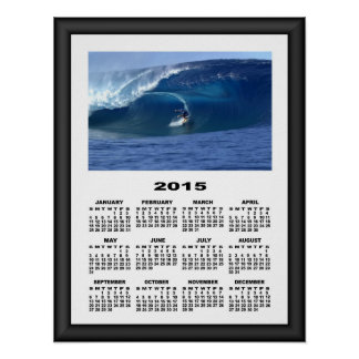 2015 Calendar Surfing in Hawaii Graphical Frame #1 Poster