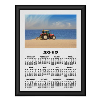 2015 Calendar Tractor Cleaning The Beach Poster