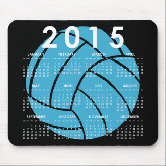 2015 Calendar Turquoise Volleyball Mouse Pad