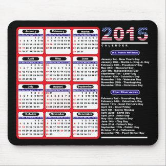 2015 calendarios blancos de los E.E.U.U. y negros Alfombrillas De Ratón