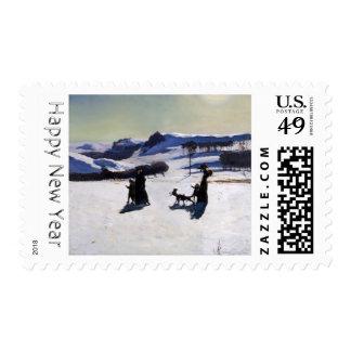 2015 campos de nieve del pintor americano Rockwell Timbre Postal