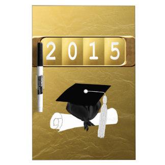 2015, Cap & Diploma, Gold & Black Dry-Erase Board