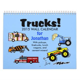 2015 Cartoon Trucks Calendar Personalized Name