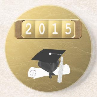 2015, casquillo y diploma, oro y negro posavasos diseño