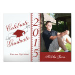 2015 Celebrate Graduate Red Photo 5x7 Paper Invitation Card