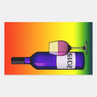 2015 celebration wine rectangular sticker