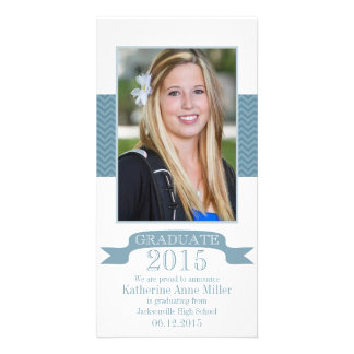 2015 Chevron Blue Graduation Photo Card