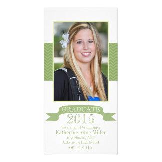 2015 Chevron Green Graduation Photo Card