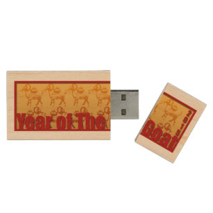 2015 Chinese New Year of the Ram Sheep or Goat USB Wood USB Flash Drive