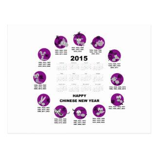 2015 Chinese Zodiac Calendar Happy Chinese New Yr Postcard