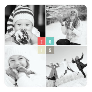 2015 Color Block Simple New Year Photo Greetings Personalized Announcement