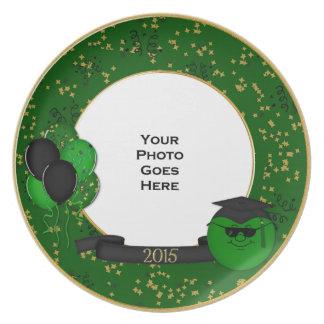 2015 Commemorative Graduation Plate-Smiley GREEN Melamine Plate