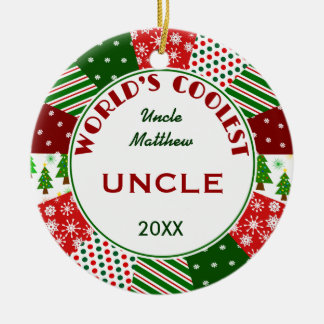 2015 COOLEST UNCLE or Any Name Double-Sided Ceramic Round Christmas Ornament